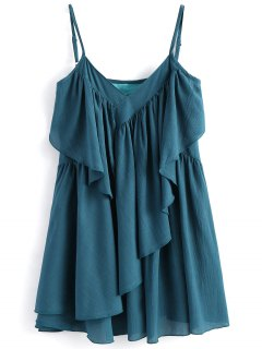 Robe à Bretelles à Volants  - Bleu Vert L
