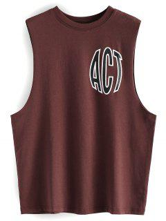 Letter Print Drop Armhole Tank Top - Brick-red