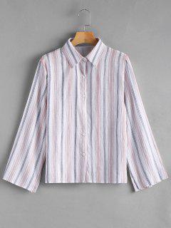 Slit Sleeve Button Up Striped Shirt - Stripe S