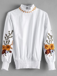 Ruffle Neck Smocked Floral Patched Blouse - White M