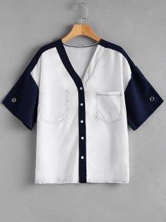 Blusa De Bolsillo Con Cuello En Contraste - Blanco