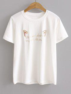 Short Sleeve Cattoon Letter Embroidered T-shirt - White