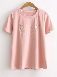 Short Sleeve Cattoon Letter Embroidered T-shirt - Pink