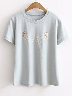 Camiseta Bordada De La Manga Corta De Cattoon - Azul Piedra