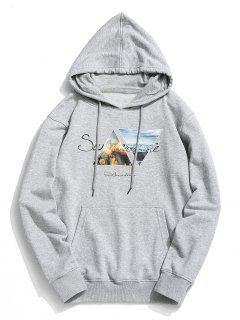 Pouch Pocket Graphic Fleece Hoodie - Gray 3xl