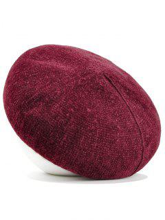 Simple Solid Color Faux Wool Beret - Wine Red