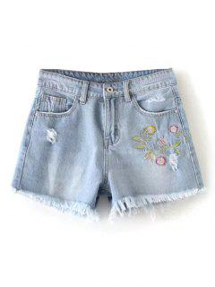 Short Denim Brodé Floral à Bordure Usée - [
