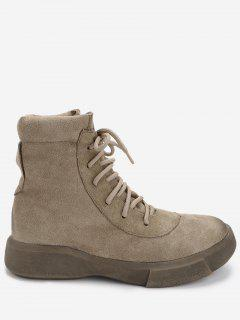 Flat Heel Faux Suede Ankle Boots - Camel 39