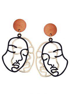 Outline Human Face Drop Earrings - Black