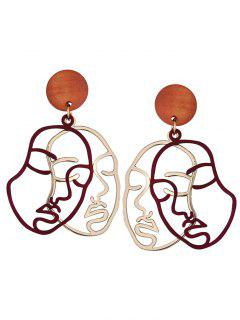Outline Human Face Drop Earrings - Red