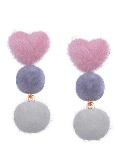 Heart And Little Furball Layered Stud Drop Earrings - Pink + Gray