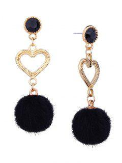 Metal Heart Linked Furry Ball Drop Earrings - Black