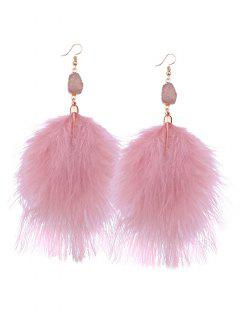 Thread Feather Party Drop Earrings - Pink
