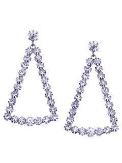 Triángulo Geométrico Faux Diamond Long Dangle Pendientes - Blanco