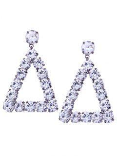 Faux Diamante Geométrico Triángulo Cuelga Los Pendientes - Blanco