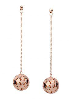 Hollow Out Ball Metal Long Drop Earrings - Golden