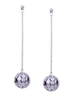 Hollow Out Ball Metal Pendientes De Gota Largos - Blanco