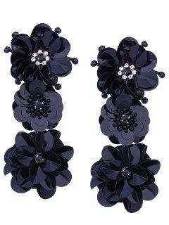 Beaded And Faux Diamond Inlay Paillette Flower Drop Earrings - Black
