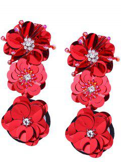 Perlen Und Faux Diamond Inlay Paillette Blume Ohrringe - Rot