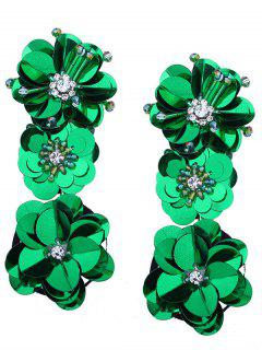 Beaded And Faux Diamond Inlay Paillette Flower Drop Earrings - Green