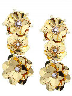 Beaded And Faux Diamond Inlay Paillette Flower Drop Earrings - Yellow