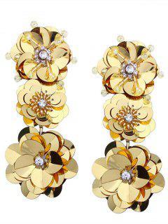Pendientes Colgantes De Flores Con Incrustaciones De Diamantes Y Cuentas De Paillette - Amarillo