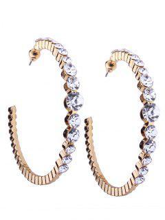 Classic Faux Diamond Inlay Cuff Hoop Earrings - Golden