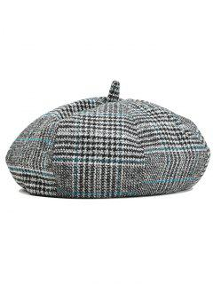 Simple Checkered Pattern Beret Hat - Black + Blue