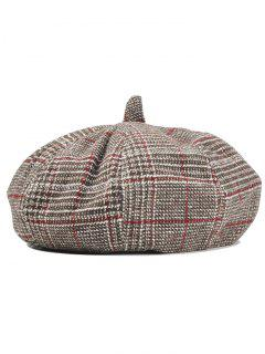 Simple Checkered Pattern Beret Hat - Khaki + Wine Red
