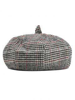 Simple Checkered Pattern Beret Hat - Black + Red