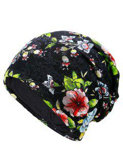Floral Embellished Lace Slouchy Beanie - Black