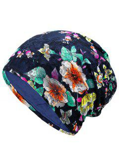 Floral Embellished Lace Slouchy Beanie - Blue