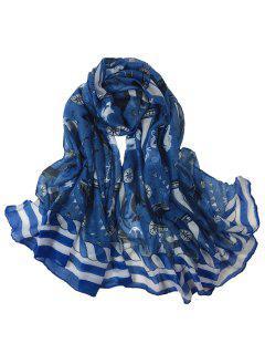 Sailboat Pattern Embellished Long Scarf - Denim Blue