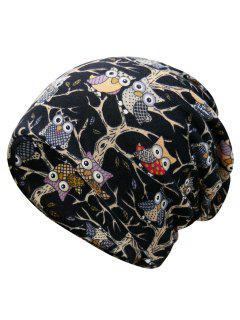 Funny Owl Pattern Slouchy Beanie - Black