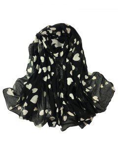 Heart Pattern Embellished Silky Long Scarf - Black