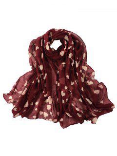 Heart Pattern Embellished Silky Long Scarf - Wine Red