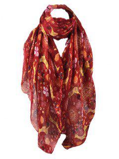 Cute Deer Pattern Silky Long Scarf - Red