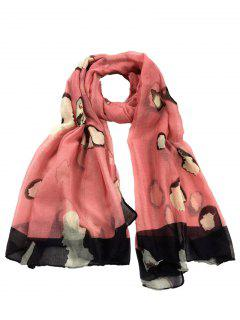Unique Spotted Pattern Silky Long Scarf - Watermelon Red