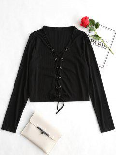Lace Up Long Sleeve Ribbed Tee - Black S