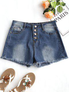 High Waist Frayed Hem Denim Shorts - Denim Blue L