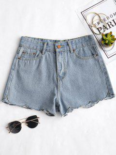 Scalloped Hem Denim Shorts - Denim Blue L