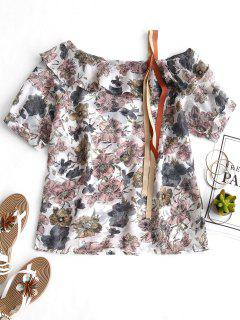 Skew Collar Ruffles Floral Blouse - Floral M