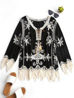 Lace Up Crochet Panel Embroidered Blouse - Black