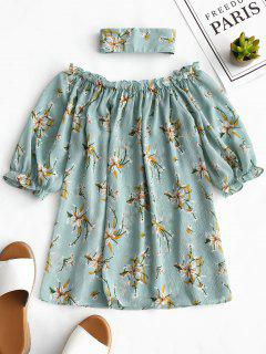 Off Shoulder Floral Blouse With Choker - Floral M