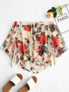 Off Shoulder Semi Sheer Floral Blouse - Floral L