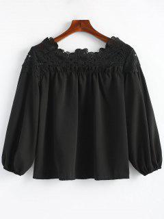 Crochet Panel Ruffles Blouse - Black L
