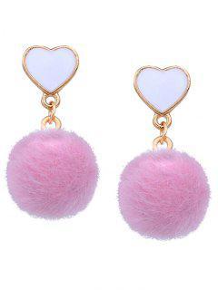 Heart Shape And Furry Ball Stud Drop Earrings - Pink