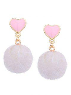Heart Shape And Furry Ball Stud Drop Earrings - White