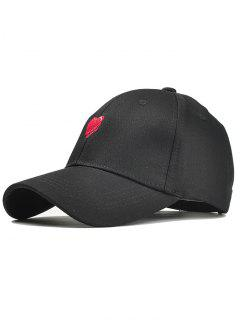Funny Heart Embroidery Adjustable Baseball Cap - Black