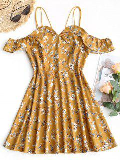 Floral Cold Shoulder Ruffle Flare Dress - Mustard S
